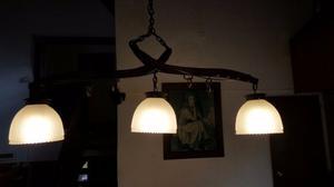 lampara colgante de tres tulipas estilo campo