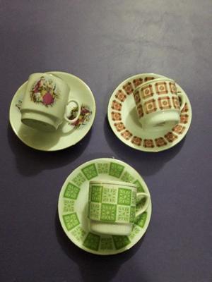 3 tazas y platos para coleccionar o adorno