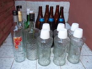Botellas de vidrio para decoración, artesanías o reciclado