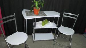 Mesa con estantes y 2 sillas plegables, bar, desayunador