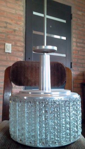 lámpara colgante cilíndrica acero inoxidable y vidrio