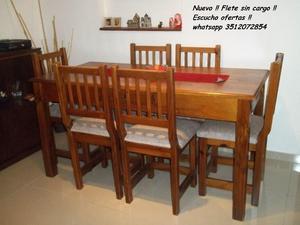 Nuevo !! Mesa de 1.60 y 6 sillas tapizadas !! Flete sin