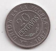 Antigua Moneda 20 Centavos - Bolivia