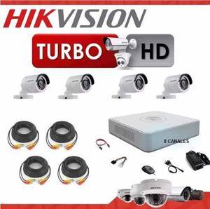 Kit Hikvision 8 Turbo Hd Ds- Cámaras Cables Fuente