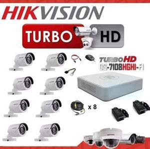 Kit Hikvision 8 Turbo Hd Ds- Cámaras Cables Fuentes