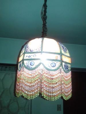 LAMPARA COLGANTE VIDRIO COLORES CON PERLAS RETRO