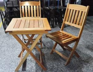 Mesa plegable 2 sillas en madera plegable