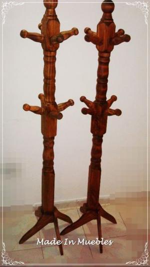 Perchero de pie de madera 8 brazos