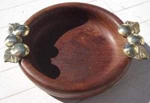 frutera/centro de mesa de algarrobo y bronce
