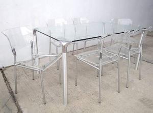 Juego De Comedor Diseño Italiano Mesa De Vidrio + 6 Sillas
