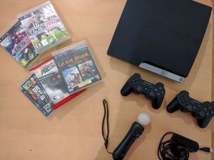 Play Station 3 Slim 160gb+juegos+2joysticks+move-como Nueva