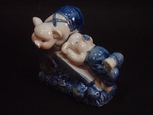 """Figura de porcelana Japan """"Dos chanchitos descansando"""""""