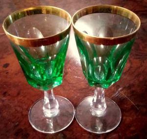 Juego de copas de Cristal de Murano con borde dorado