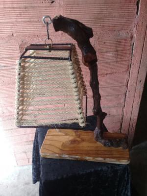 veladores lampara en tronco de parra hierro y soga!!!