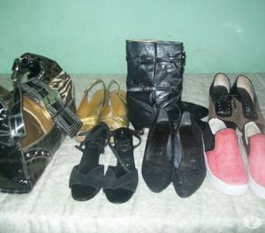 Lote de zapatos y cartera