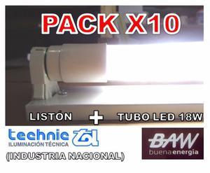 PACK X10 - TUBO LED 18W LUZ FRÍA CON LISTON PARA APLICAR