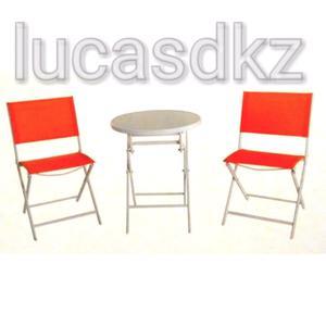 Set de jardín mesa vidrio con sillas plegables naranjas
