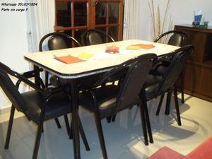 Juego de comedor super reforzado 6 sillas !! Flete sin cargo