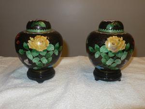 Potiches de bronce esmaltados