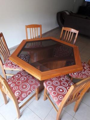 juego de mesa y 6 sillas roble macizo