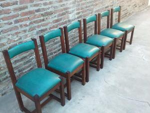 6 sillas de algarrobo tapizadas