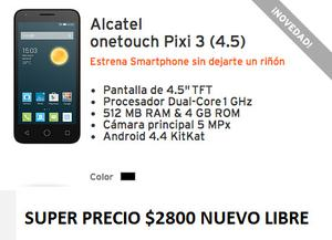 Alcatel One Touch Pixi 3 4.5 pulgadas android