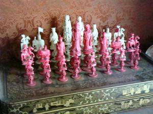antiguo juego ajedrez en márfil