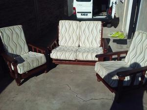 juego de living de algarrobo sillones reclinables