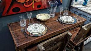 Mesa Desayunador Madera Rustico Vintage Banquetas Barra B