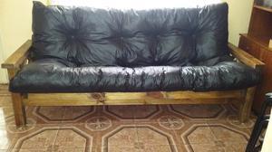 Futon cama lustrado. 2 plazas $