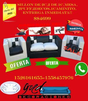 JUEGO DE LIVING DE 2C,2 DE 1C,MESA,2PUFF,2DECOS,1 CAMINITO