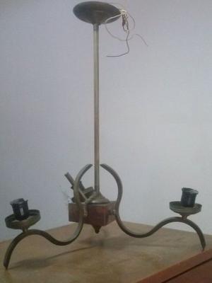 LAMPARA BRONCE Y MADERA