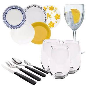 Set Vajilla 78 Pz Platos Copas Champagne / Tazas / Cubiertos