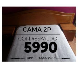 CAMA DE 2 PLAZAS CON RESPALDO!!! OPORTUNIDAD HOY!!!