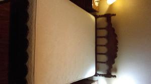 CAMA ALGARROBO 2 PLAZAS + COLCHON BED TIME