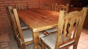 Mesa de madera ideal para quincho de 0.8 x 1,7.con 6 sillas
