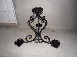 araña antigua hierro forjado 3 brazos