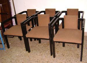 Juego de 6 sillas y 2 sillas con apoyabrazos posot class for Sillas con apoyabrazos tapizadas