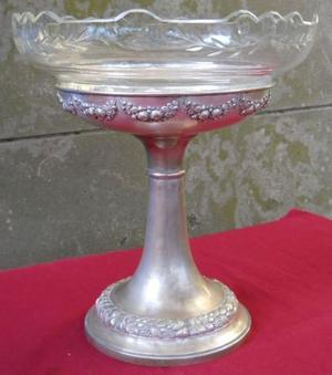 Centro de mesa Antiguo de cristal y metal.