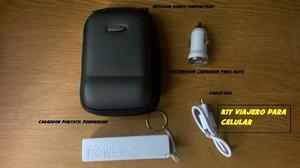 KITS VIAJEROS PARA CELULARES, CARGADOR PORTATIL CABLE USB