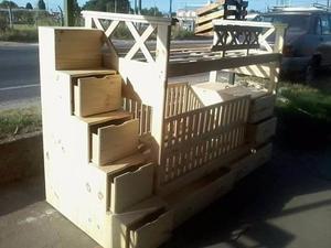 Cama superpuesta + cuna funcional + carro cajon + escalera