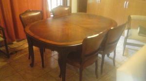 Mesa y sillas antigual Luis XV