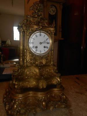 Antiguo Reloj De Mesa Frances Luis Xv Bronce Maquima Paris