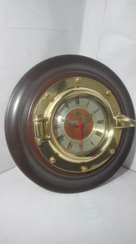 Reloj De Pared Vintage En Madera Y Bronce