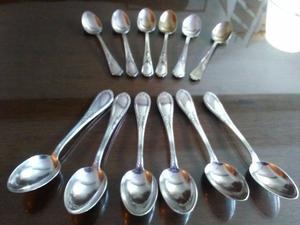 Juego cucharitas de plata italiana, 6 de té sello 800 y 6