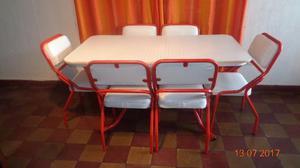 Juego de comedor caño estructural con seis sillas