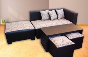 Sofa esquinero + camastro + mesa + puff + almohadone