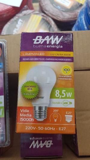 Lampara Bulbo A60 Baw Led 8.5w Luz Calida La Plata!!!
