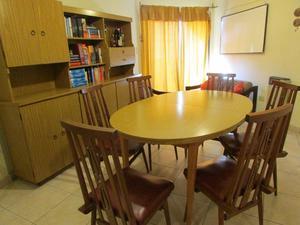 Juego de comedor mesa expansible con 6 sillas con cuerina