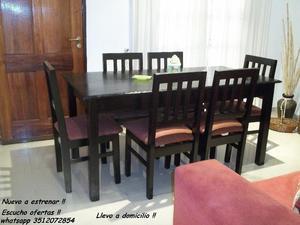 Nuevo !! Comedor 6 sillas !! Llevo a domicilio !!